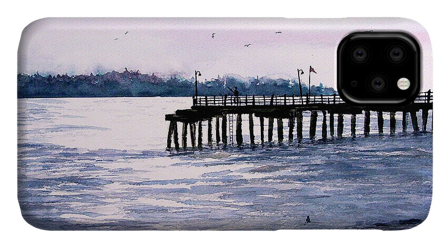 Fishing IPhone Case featuring the painting St. Simons Island Fishing Pier by Sam Sidders
