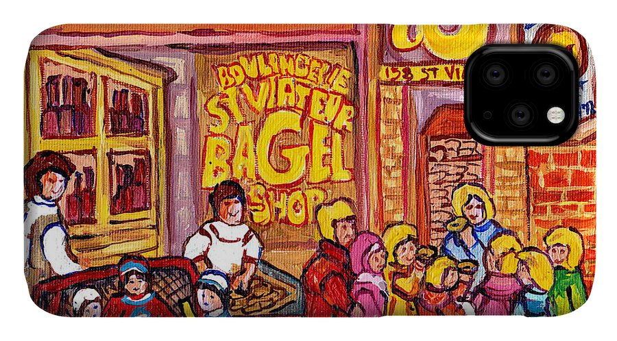 Children IPhone Case featuring the painting St Viateur Bagel Shop Montreal Art Kids And Bagels Hockey Fun C Spandau Canadian City Scene Painting by Carole Spandau