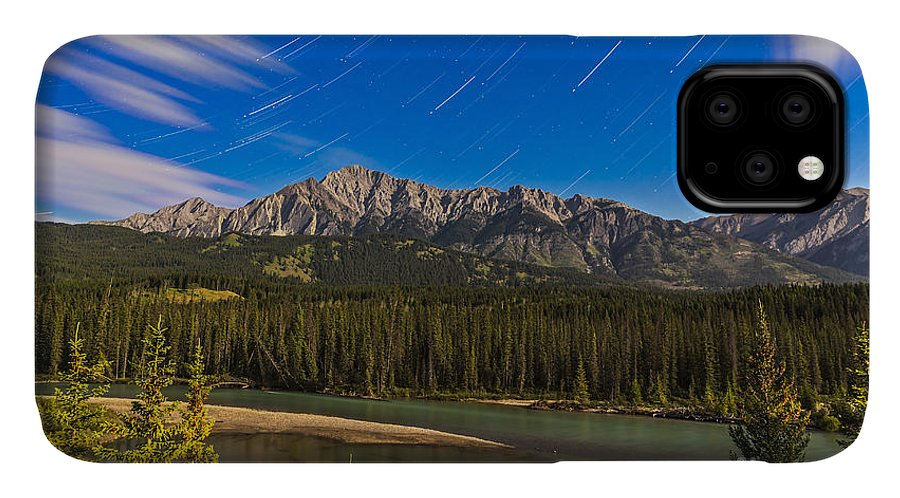 Alberta IPhone Case featuring the photograph Star Trails Above The Front Ranges by Alan Dyer