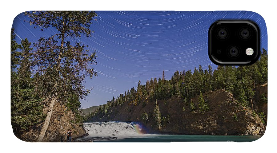 Alberta IPhone Case featuring the photograph Star Trails And Moonbow Over Bow Falls by Alan Dyer