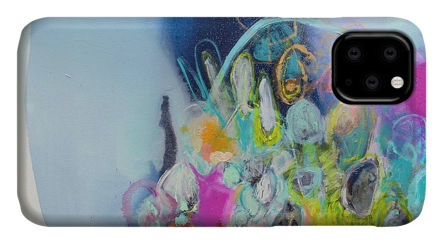 Abstract IPhone 11 Case featuring the painting Still Playing by Claire Desjardins