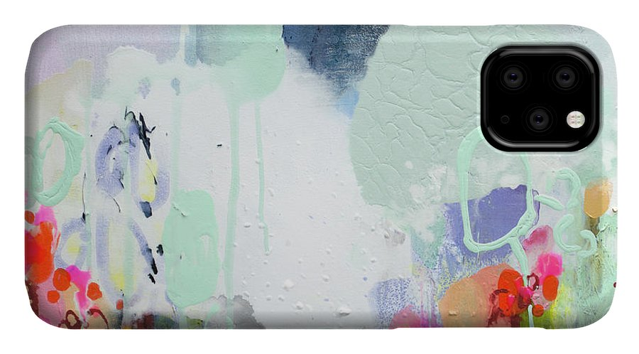 Abstract IPhone 11 Case featuring the painting Stories by Claire Desjardins