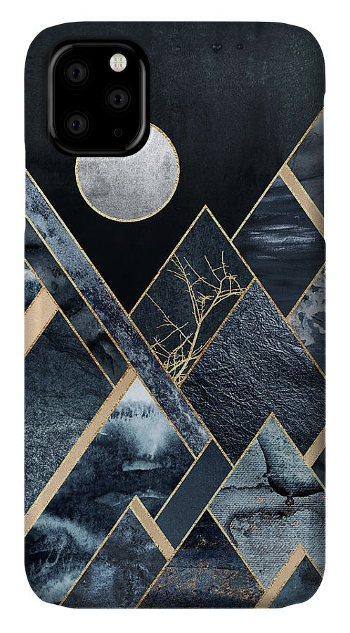 Graphic IPhone Case featuring the digital art Stormy Mountains by Elisabeth Fredriksson