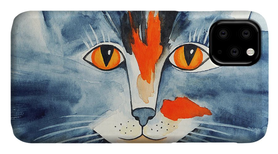 Paint IPhone Case featuring the painting Stray Cat by Jutta Maria Pusl
