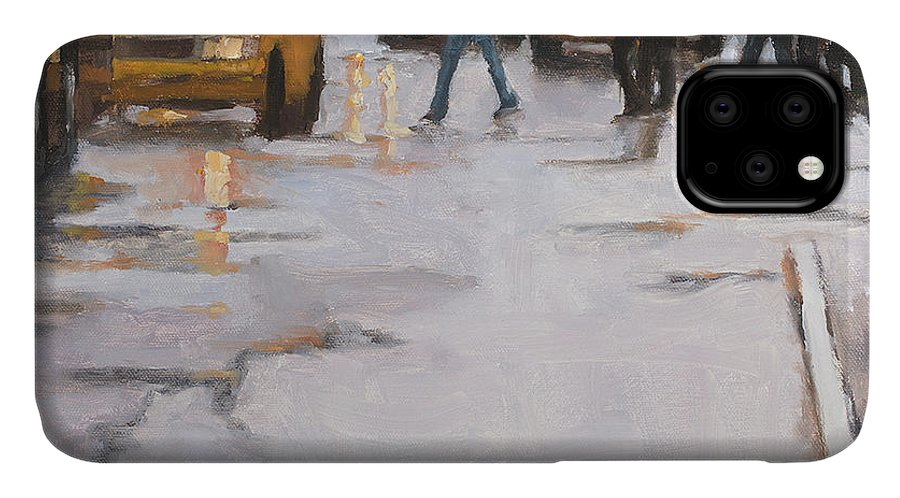 Oil Painting IPhone 11 Case featuring the painting Street Wise by Tate Hamilton