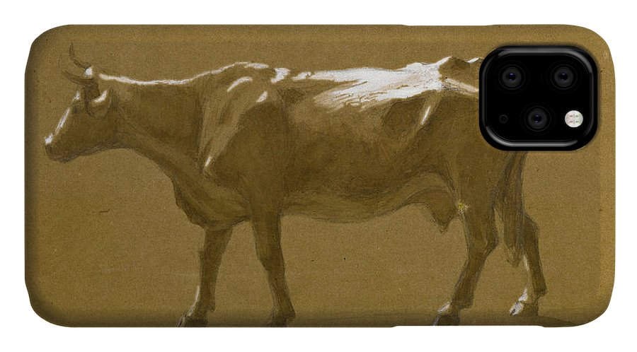 Jasper Francis Cropsey IPhone 11 Case featuring the drawing Study Of A Bull by Jasper Francis Cropsey