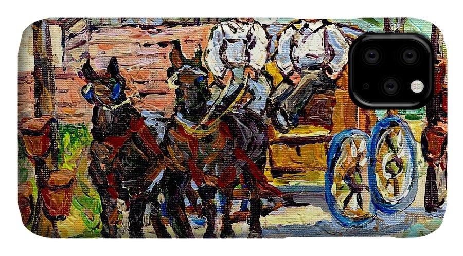 Horses IPhone Case featuring the painting Sugar Shack Maple Trees Horses And Wagon Canadian Landscape Painting Ontario Farm Scene Cspandau Art by Carole Spandau