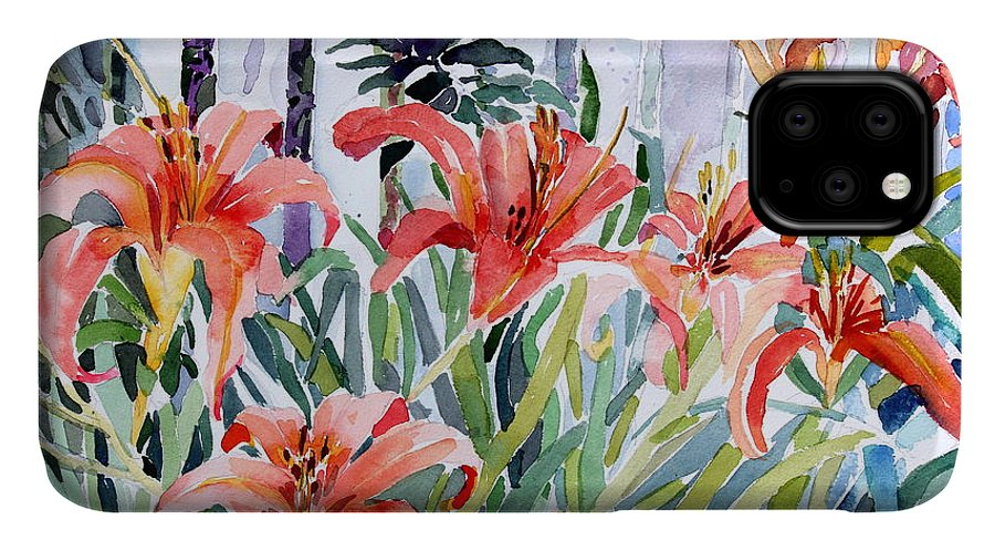 Day Lily IPhone 11 Case featuring the painting My Summer Day Liliies by Mindy Newman