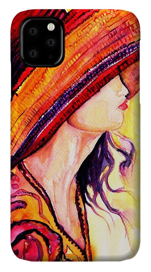 Elegant Lady IPhone Case featuring the painting Summer Hat by Carole Spandau