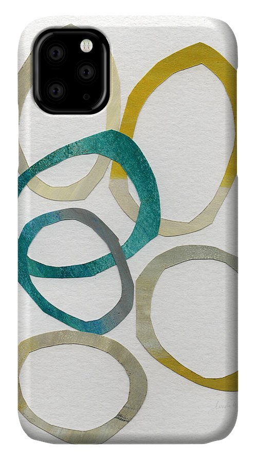 Abstract Art IPhone 11 Case featuring the mixed media Sun And Sky- Abstract Art by Linda Woods