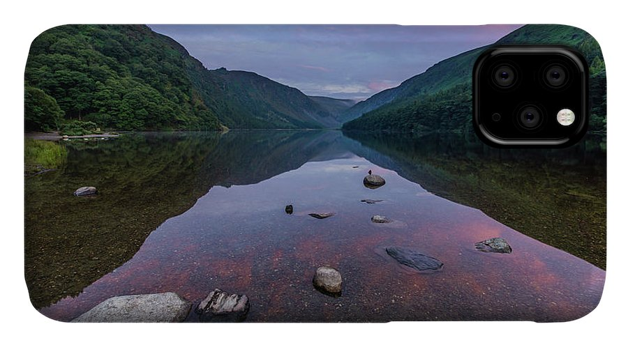 Sunrise IPhone Case featuring the photograph Sunrise at Glendalough Upper Lake #3, County Wicklow, Ireland. by Anthony Lawlor