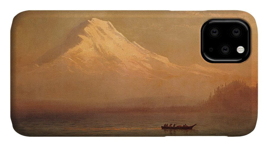 American; Landscape; Mount Rainier; Mt; Washington State; Mowich Lake; Volcano; Mountain; West; Western; Northwest; Wilderness; Boat; Dawn; Snowcapped; Snow-capped IPhone Case featuring the painting Sunrise On Mount Tacoma by Albert Bierstadt
