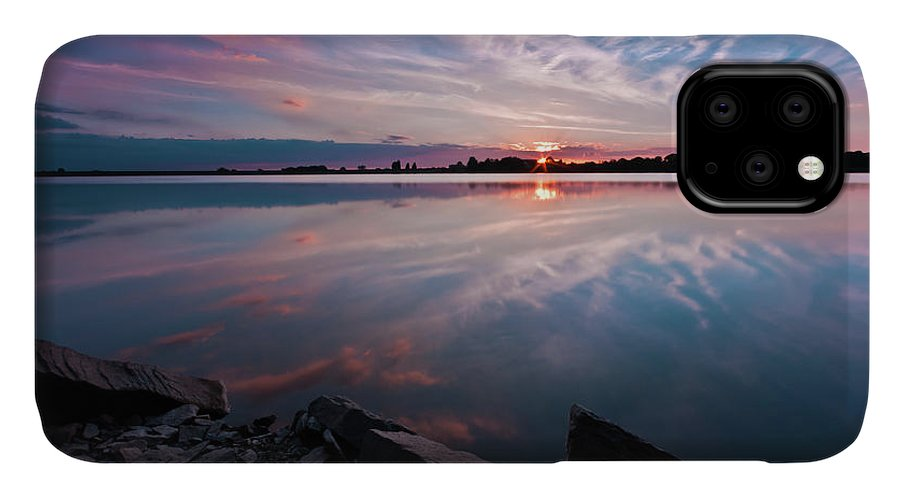 Sunrise IPhone Case featuring the photograph Sunset at Anglezarke Reservoir #1, Rivington, Lancashire, North West England by Anthony Lawlor