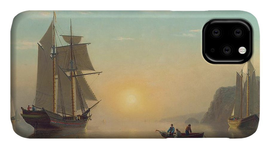 Boat IPhone Case featuring the painting Sunset Calm In The Bay Of Fundy by William Bradford