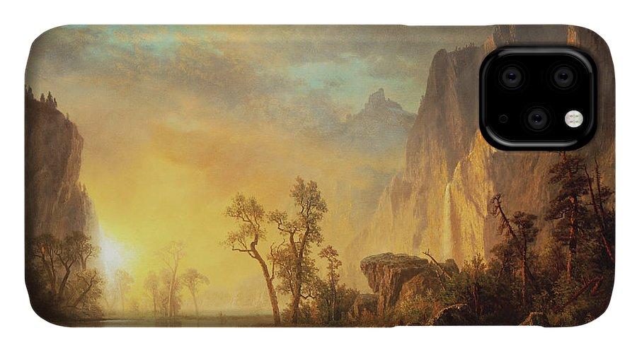Bierstadt IPhone 11 Case featuring the painting Sunset In The Rockies by Albert Bierstadt