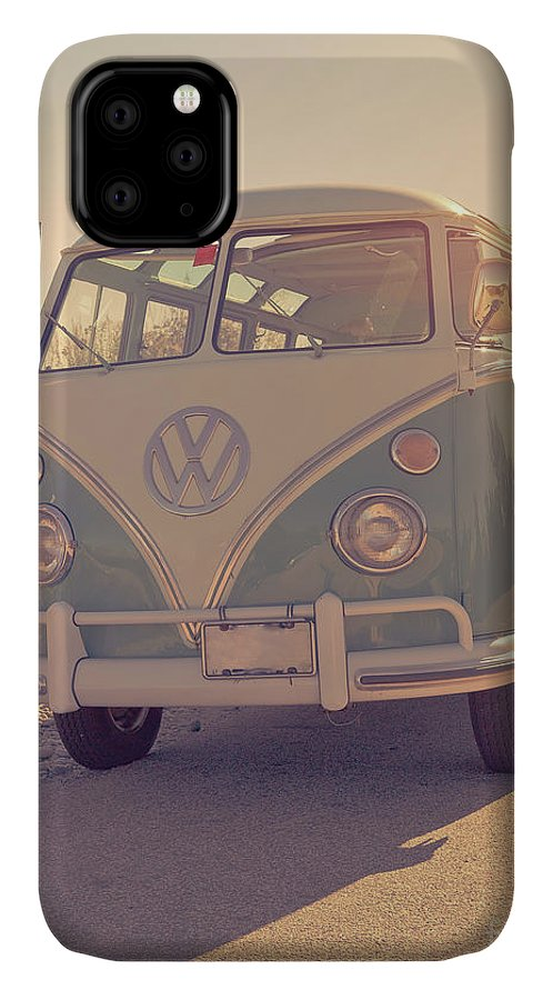 Surfer IPhone 11 Case featuring the photograph Surfer's Vintage Vw Samba Bus At The Beach 2016 by Edward Fielding