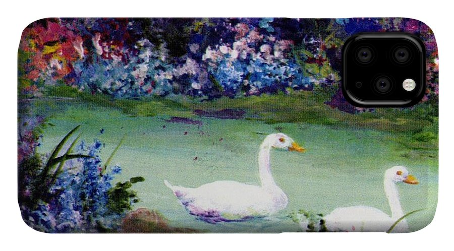 Writermore IPhone 11 Case featuring the mixed media Swan Lake by Writermore Arts