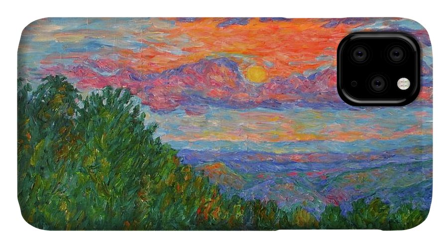 Landscapes For Sale IPhone Case featuring the painting Sweet Pea Morning on the Blue Ridge by Kendall Kessler