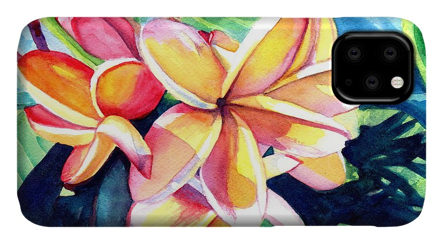 Plumeria IPhone Case featuring the painting Sweet Plumeria 2 by Marionette Taboniar