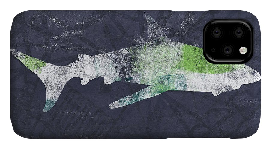 Shark IPhone 11 Case featuring the painting Swimming With Sharks 3- Art By Linda Woods by Linda Woods