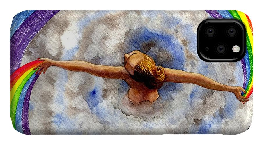 Rainbow IPhone Case featuring the painting Swirl by Catherine G McElroy