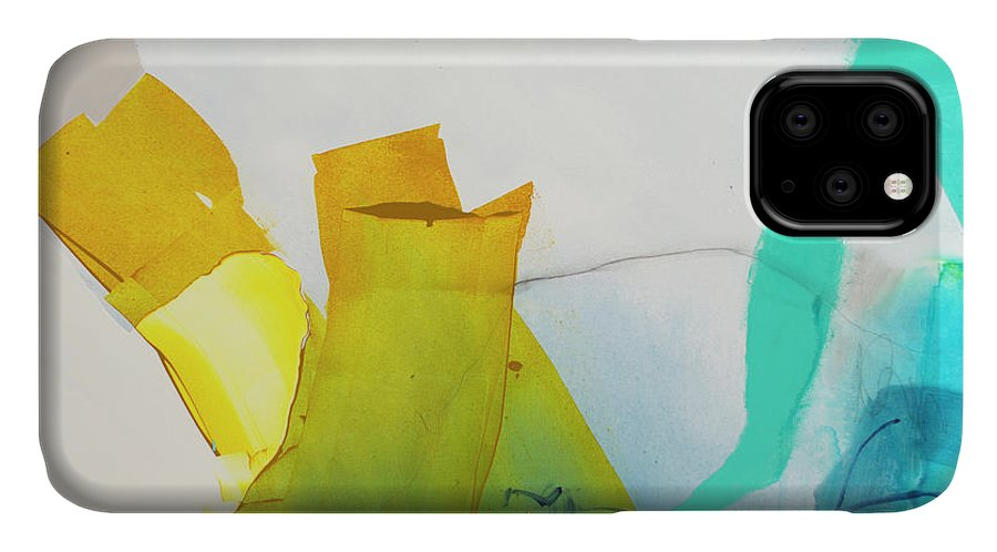Abstract IPhone 11 Case featuring the painting Talking To Myself by Claire Desjardins