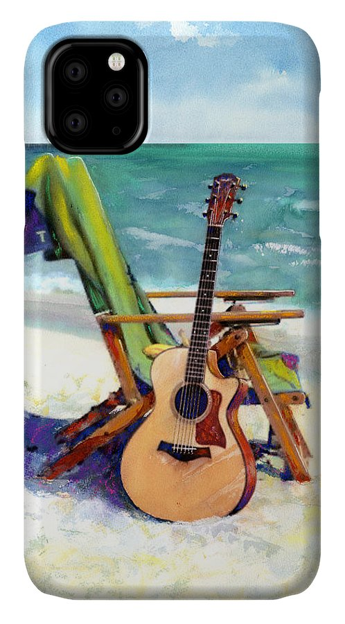 Guitar Paintings IPhone Case featuring the painting Taylor At The Beach by Andrew King