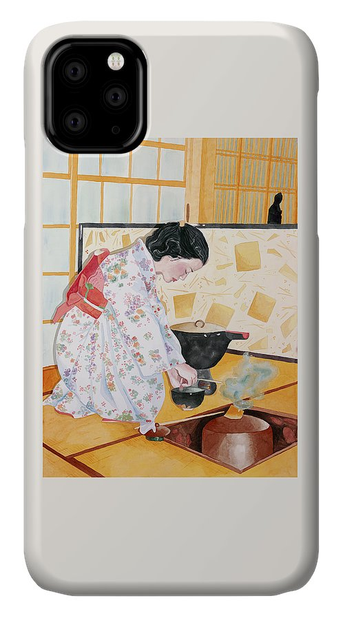 Japanese Woman Performing Tea Ceremony IPhone Case featuring the painting Tea Ceremony by Judy Swerlick