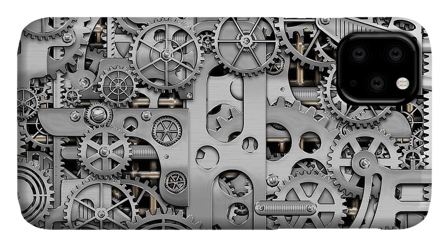'visual Art Pop' By Serge Averbukh IPhone Case featuring the digital art Techno Worlds - Complexity And Complications - Clockwork Silver by Serge Averbukh