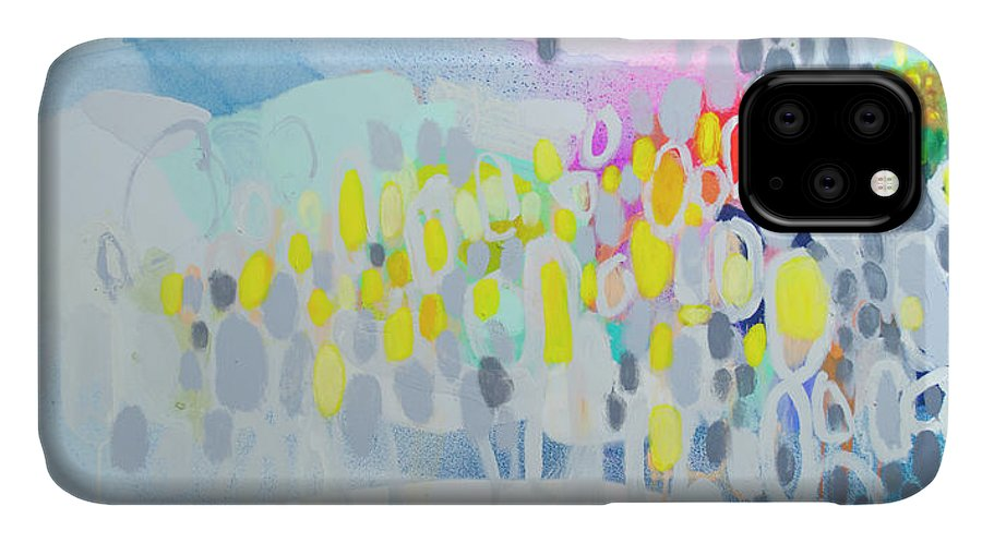 Abstract IPhone 11 Case featuring the painting Ten O'clock Flight by Claire Desjardins