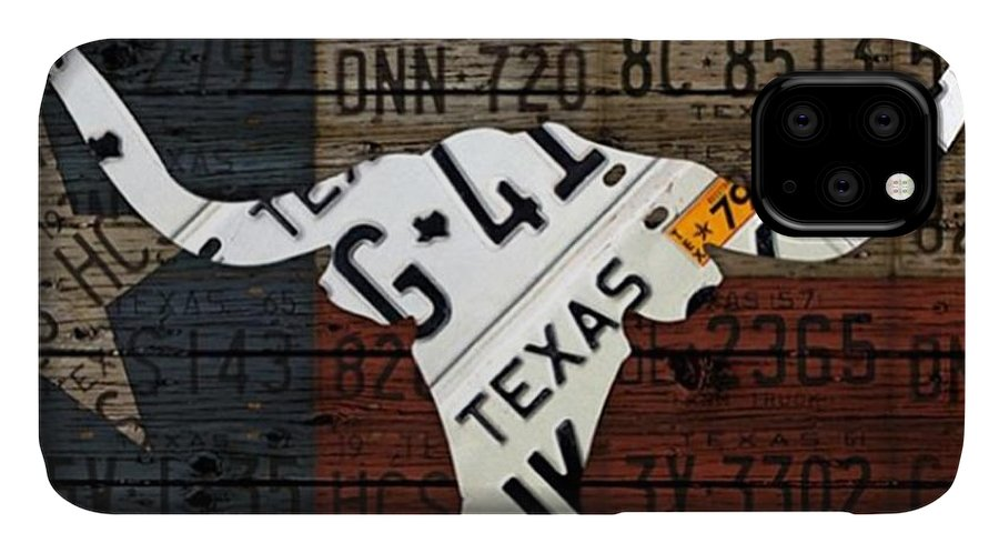 Art IPhone Case featuring the photograph #texas #longhorn #recycled #vintage by Design Turnpike