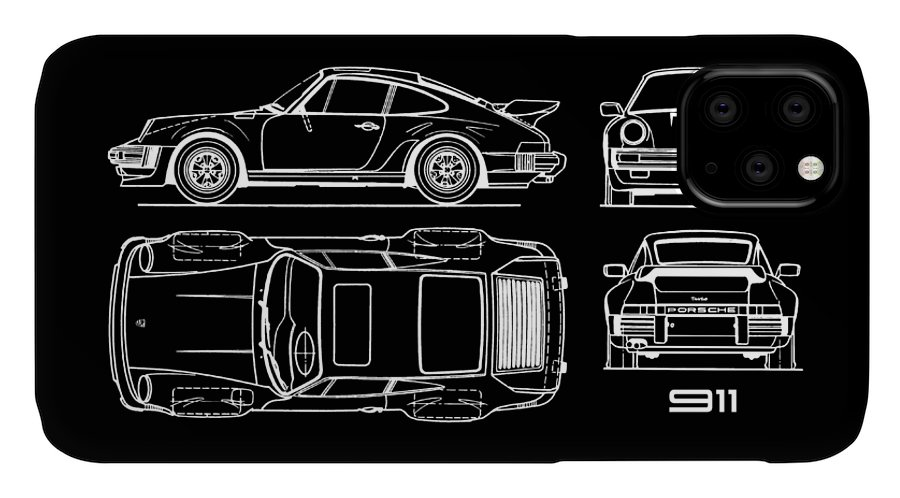 Porsche IPhone Case featuring the photograph The 911 Turbo Blueprint by Mark Rogan