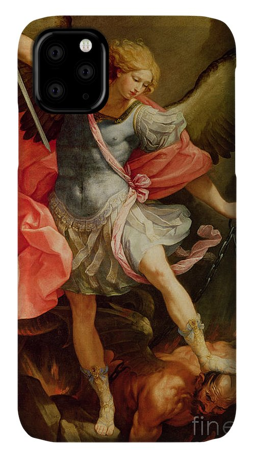 The IPhone 11 Case featuring the painting The Archangel Michael Defeating Satan by Guido Reni