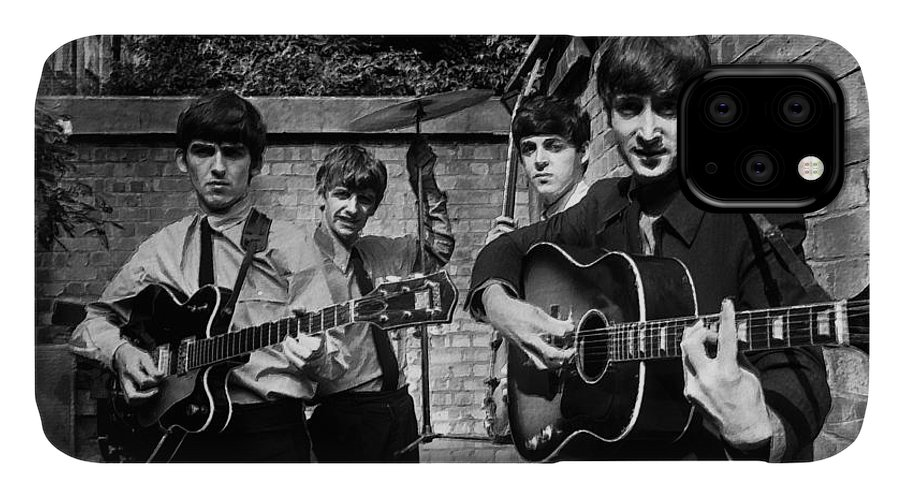 The Beatles IPhone Case featuring the painting The Beatles In London 1963 Black And White Painting by Tony Rubino