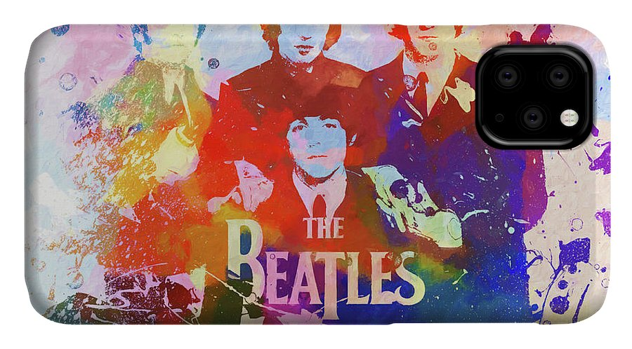 The Beatles Watercolor IPhone Case featuring the painting The Beatles Paint Splatter by Dan Sproul