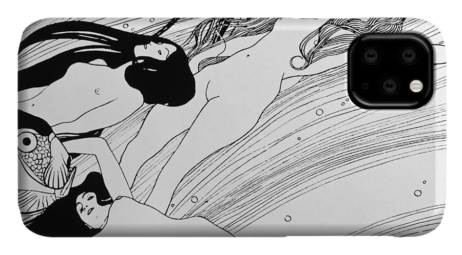 Nudes IPhone 11 Case featuring the drawing The Blood Of Fish by Gustav Klimt