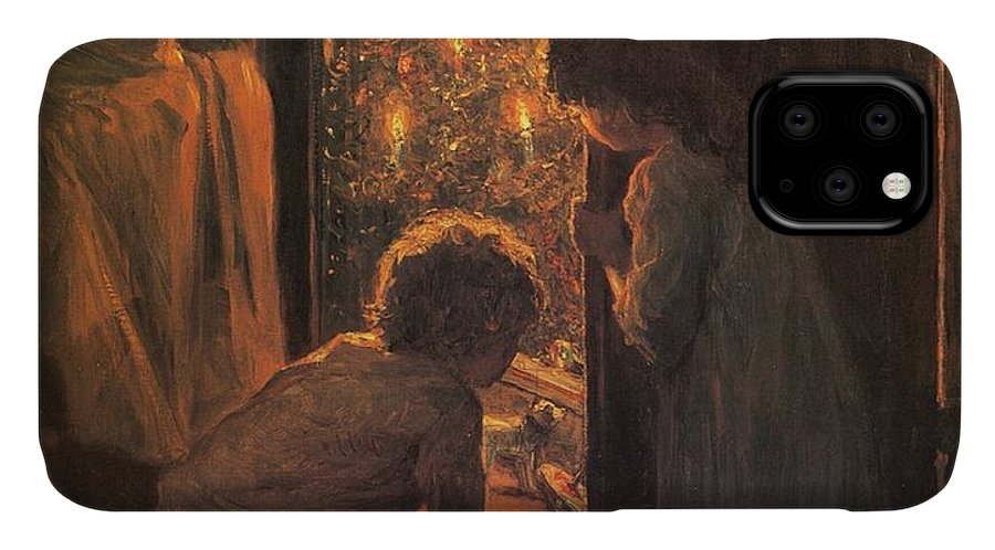 The Christmas Tree IPhone Case featuring the painting The Christmas Tree by Henry Mosler