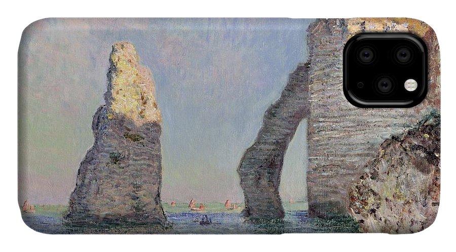 The Cliffs At Etretat IPhone Case featuring the painting The Cliffs At Etretat by Claude Monet