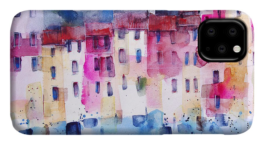 Architecture IPhone Case featuring the painting The coloured houses of Portofino by Alessandro Andreuccetti