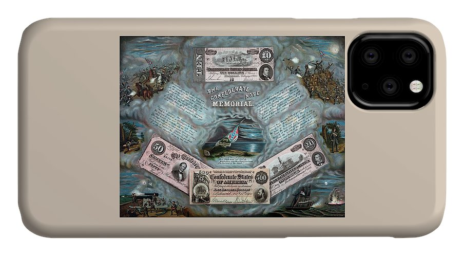 Civil War IPhone 11 Case featuring the painting The Confederate Note Memorial by War Is Hell Store