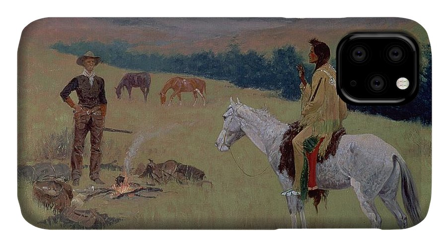 The Conversation IPhone Case featuring the painting The Conversation by Frederic Remington