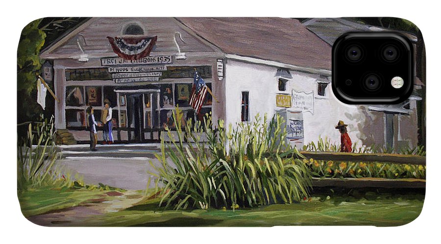 Buildings IPhone Case featuring the painting The Country Store by Nancy Griswold