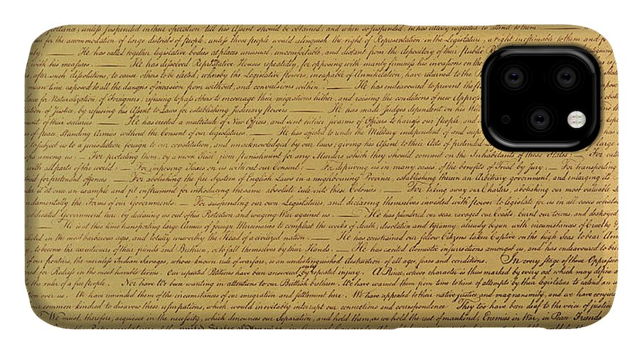 Declaration Of Independence Of The 13 United States Of America Of 1776 IPhone Case featuring the painting The Declaration Of Independence by Founding Fathers