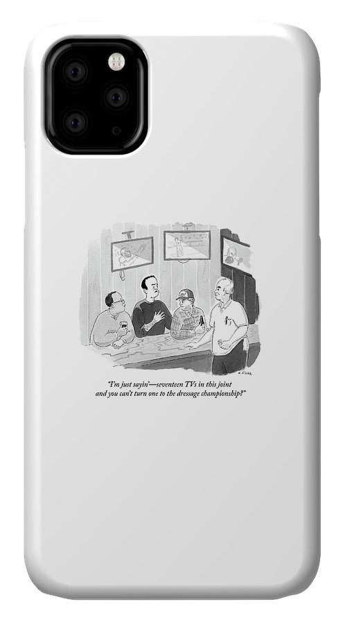 I'm Just Sayin'- Seventeen Tvs In This Joint And You Can't Turn One To The Dressage Championship? IPhone Case featuring the drawing The Dressage Fan by Emily Flake