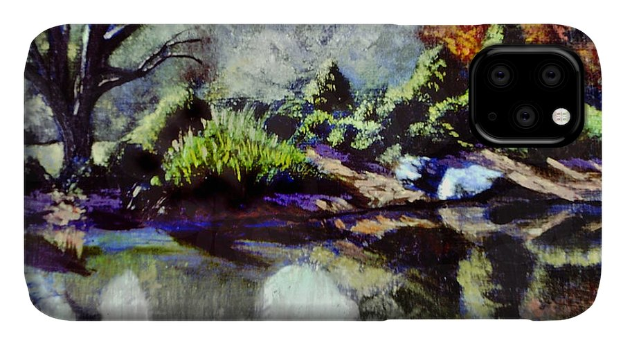 Brookside Garden Pond In The Early Morning IPhone 11 Case featuring the painting The Far Bank by David Zimmerman