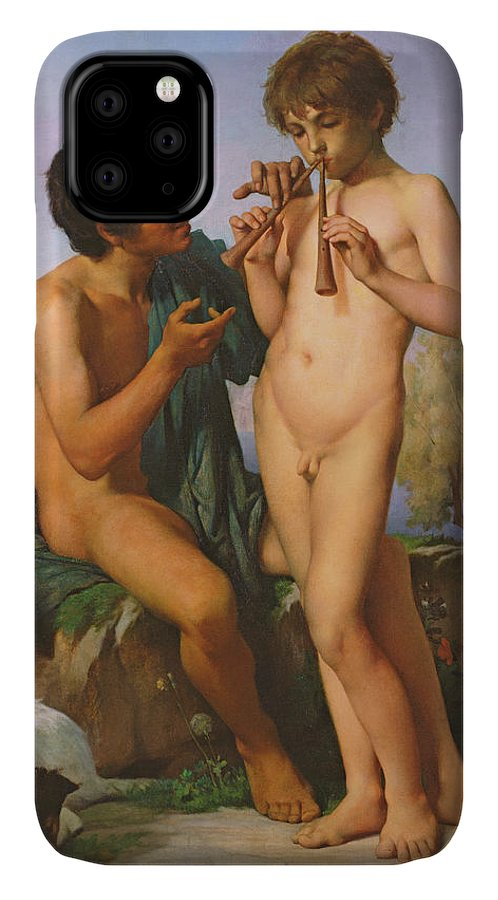 Boy IPhone 11 Case featuring the painting The Flute Lesson by Jules Elie Delaunay
