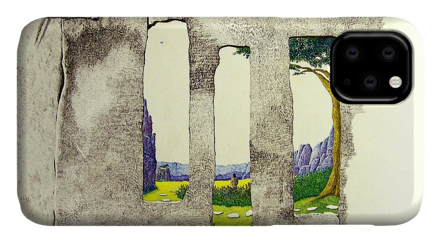 Imaginary Landscape. IPhone Case featuring the painting The Garden by A Robert Malcom