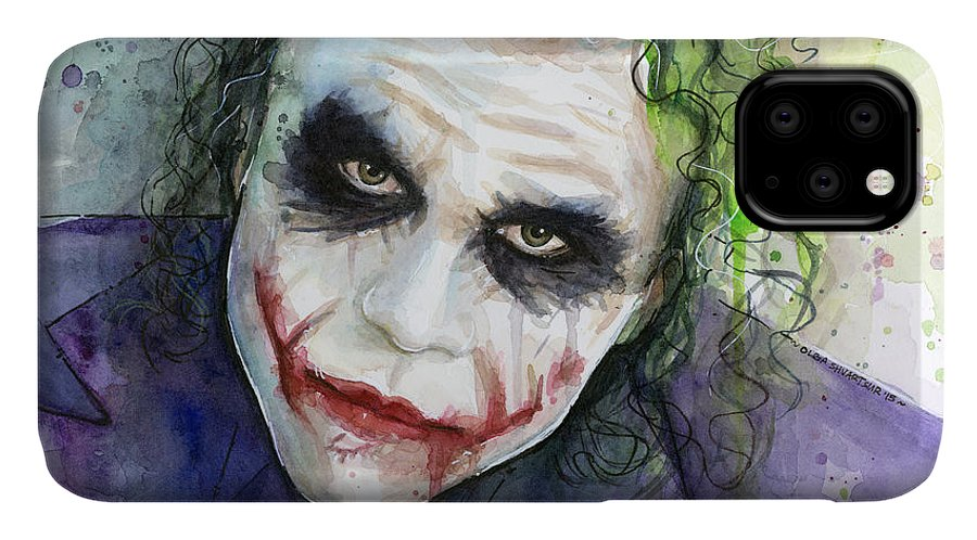 Dark IPhone 11 Case featuring the painting The Joker Watercolor by Olga Shvartsur