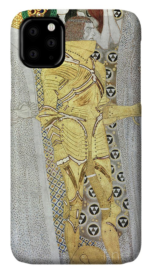 Klimt IPhone 11 Case featuring the painting The Knight by Gustav Klimt