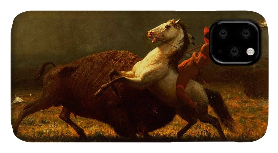 Albert Bierstadt IPhone Case featuring the painting The Last Of The Buffalo by Albert Bierstadt